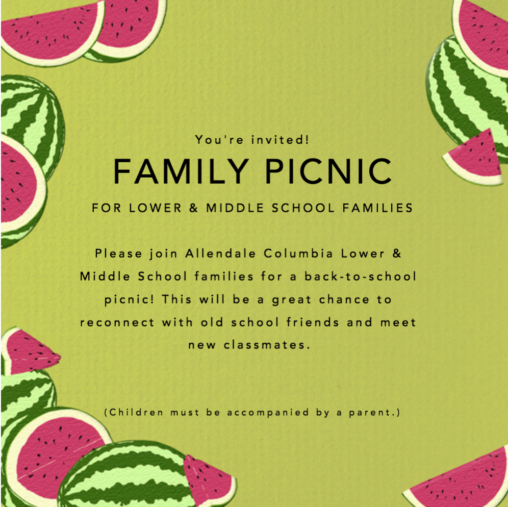 You're Invited! Family Picnic for Lower & Middle Schools